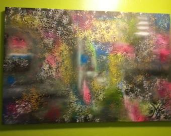 """Abstract mixed media painting,""""en un sueño profundo""""."""