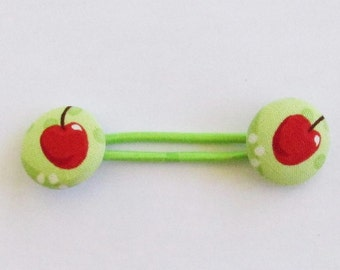 Green Cherry Ponytail Band, Elastic Hair Tie, Cherries Fabric Button Hair Band, Elastic Ponytail Holder, Hair Accessory, EclectiKIDS