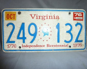 Vintage 1976 Virginia License Plate - NICE!!  Bicentennial