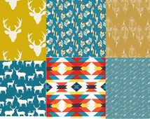Teal Cotton Fabric Bundle, Deer Fabric, Antler Fabric, Leaf Fabric, Elk Herd, Arrow Fabric, Tribal Fabric