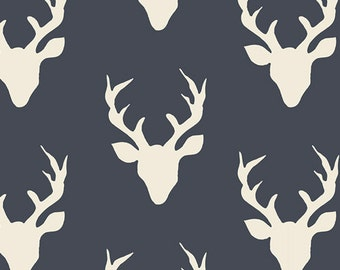 "Navy Elk Buck Fabric,  Modern Woodland Cotton Fabric, Art Gallery ""Buck Forest Twilight"" Deer Heads, Quilting Weight, Kids Room Nursery"