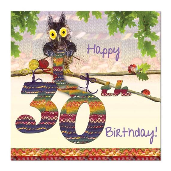 Knitting Birthday Card : Happy th birthday card owl knitting fine art blank