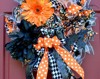 Halloween Black and Orange Flowers and Bows Wreath
