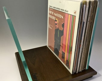 Walnut LP Vinyl Record Storage, stand, display, holder