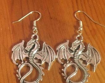 Dragon silver dangly earrings
