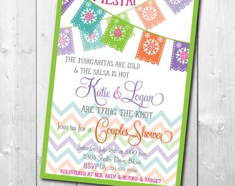 Couples Shower Fiesta Mexican Invitation printable/Digital File/wedding shower, bridal shower, tacos, margaritas/Wording can be changed