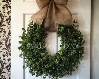 Spring Faux Boxwood Wreath, Summer Boxwood Burlap Wreath 22 inches, Boxwood Wreath with Burlap Bow, Summer Boxwood, easter boxwood wreath