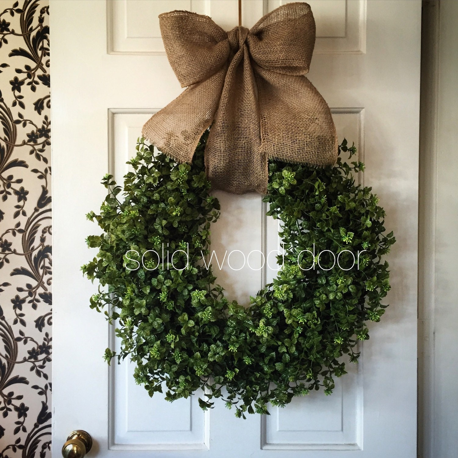 Spring faux boxwood wreath summer boxwood burlap wreath 22 for Best place to buy wreaths