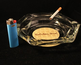 Vintage Holiday Inn Large Glass Ashtray Hexagon Shaped, Excellent Condition Collectible Gift