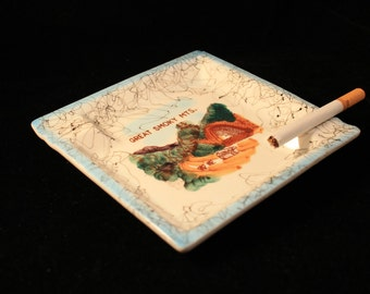 Great Smoky Mountains Ashtray Vintage Square Ceramic Travel Souvenir, Americana