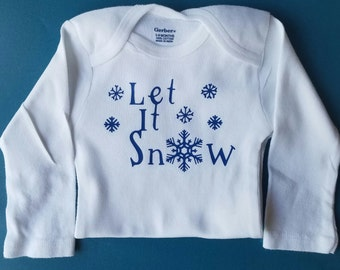 Let It Snow Baby Clothes, Snowflake Baby, Gender Neutral Baby Clothes, Baby Shower Gift, Christmas Baby Clothes, Snowflake Baby Clothes
