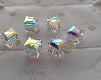 2 pieces Vintage Swarovski #5601 14mm Crystal Clear AB Large Square Cube Faceted Beads