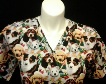Christmas Dogs scrub top sizes xs to xl made to order 100% Cotton four neck design to choose from with two front pockets