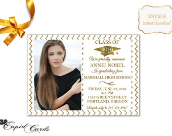 Gold Chevron Graduation Announcement Template Printable Graduation Party Invitation Design Gold Chevron Pattern |PHOTOSHOP PROGRAM| - SALEM