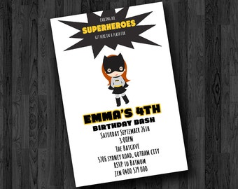 Batgirl Birthday Invitation / Batgirl Invitation / Batgirl Party