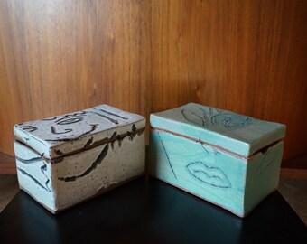 Handmade Stoneware Lidded Boxes.