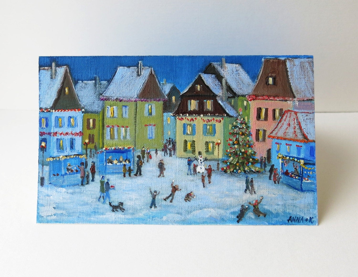 Hand painted christmas card handmade new years card ooak for Painted christmas cards