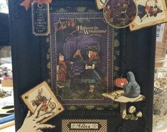 Halloween in Wonderland 3D framed art piece.