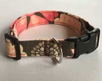 Adjustable Multi-Color Pink Flower Print Dog Collar