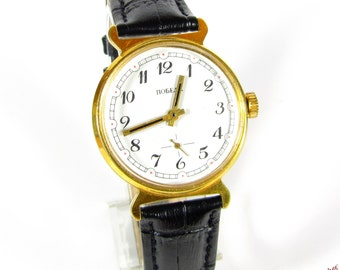 Pobeda mens wrist watch AU10  Gold plated vintage  USSR RARE Gift watch Serviced & oiled