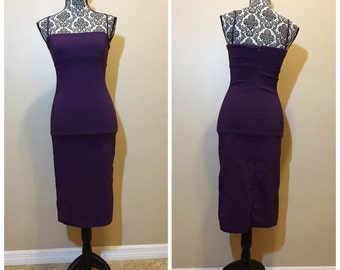 Vintage 90s Purple Midi Dress | Vintage Homcoming Dresd
