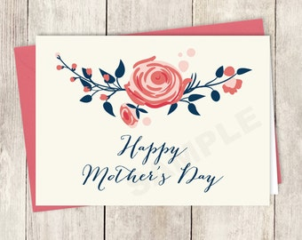 Rose Mother's Day Card Card DIY / Happy Mother's Day / Red Rose, Ivory Cream, Navy Calligraphy Folded Card ▷ Instant Download Printable PDF