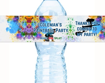 Paintball Birthday Water Bottle Labels  - 10 Paintball Bottle Wraps - Paintball Birthday Labels - Paintball Stickers - Paintball Birthday