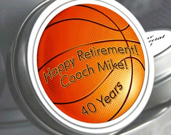 Basketball Coach Retirement Mint Tins - RetireMints - Basketball - Retirement Favors - Retirement Decor - Retirement Mints - Retired Mints