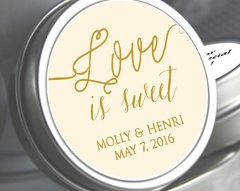 Wedding Favors - Love is Sweet - Wedding Decor - Personalized Tin Mints - Wedding Mints -  Bridal Shower Mint Tins - Your Colors