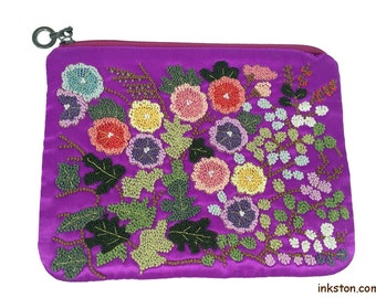 Handmade Silk Embroidery Purse, Purple