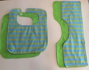 Boys Polka Dot Bib and burp cloth set