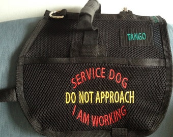 Service Dog Vest/Service Dog in Training with Handle, 2 Embroidered Pockets close with velcro, Cardholder, Custom Embroidery offered