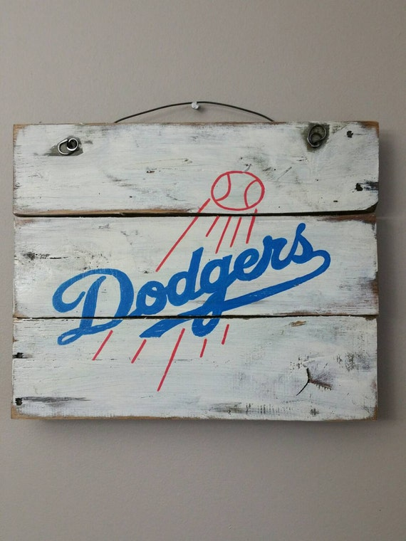 Los angeles dodgers hand painted sign on reclaimed wood for Buy reclaimed wood los angeles