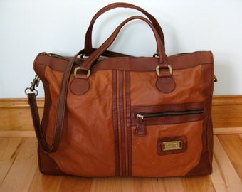Vintage 70's Leather Land Luggage Overnight Bag