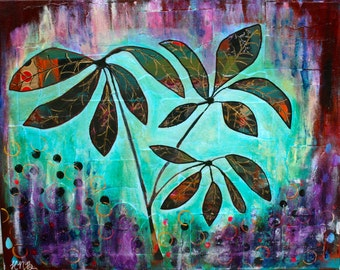 Rhododendron, 16x20, Acrylic Painting, Intuitive Painting, Floral, Purple, Turquoise, Orange, Green