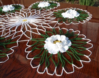 MAKE TO ORDER Crochet flower doily 23,5 inches Crochet lace doily Round doily Big doily Large doily Table topper Centerpiece Table decor