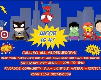 Printed Personalised Superhero Birthday Party Invitations x10