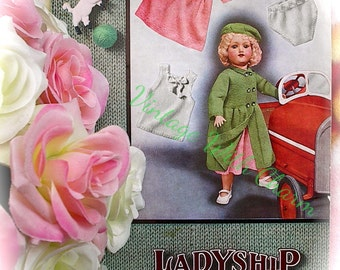 Vintage Copy Of 1940s Doll Clothes Knitting Pattern. 5 Piece Outdoor Set. FREE UK P&P