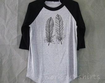 Feather shirt baseball tshirt /raglan shirt/  men teen women clothing size S M L XL