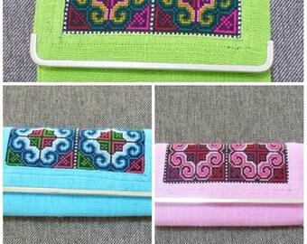 Sale Green, orange, pink long wallet C embroidered wallet ethnic ,button zipper clutch purse cute wallet women gift ideas