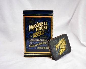 Container. Collector container. Maxwell house coffee can. Retro. Storage. Vintage. Metal