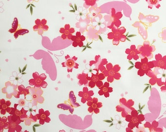 Floral and Butterfly Cotton Poplin Fabric, Butterfly Fabric,Floral Fabric,Dressmaking and Quilting Fabric - 100% Cotton