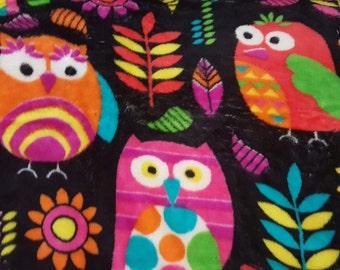 "Extra Soft Big Colorful Owls on Black Background Cotton Fleece 60"" x 35"""