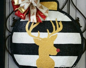 Christmas Ornament Burlap Door Hanger