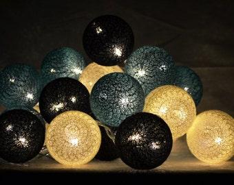 Fairy Lights LED 20 balls - turquoise / ivory / black / / 20 balls garland LED light chain