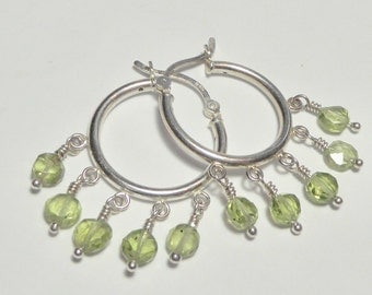 Peridot Hoop Chandelier Earrings