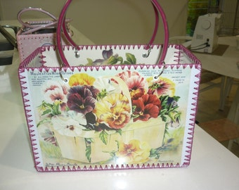 Retro style bag with pansy and flower images just like made in the 50-60's.