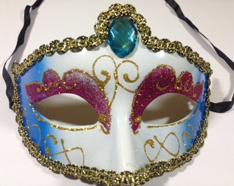 Blue Pink Mask 6.75x4.1 Inches Masks Craft Supplies Costume Mask Costume Accessories