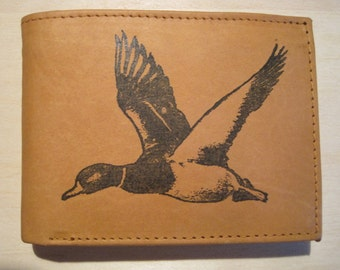 "Mankind Wallets Men's Leather RFID Blocking Billfold w/ ""Flying Duck"" Image-Makes a Great Gift!"