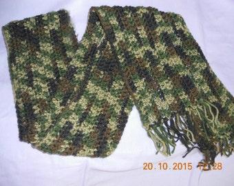 Crochet scarf / camouflage fashion warm handmade crochet scarf / neck warmer / camouflage scarf / men's scarf